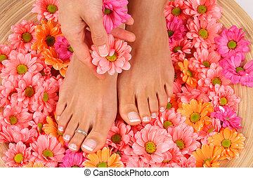 skönhet kur, foto, av, trevlig, pedicured, fötter