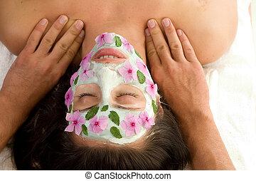 skönhet kur, maskera, och, massera