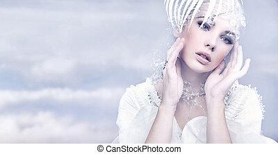 skönhet, kvinna, över, vinter, bakgrund
