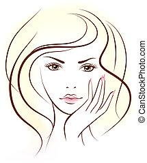 skönhet, kvinna, face.