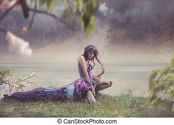 skönhet, kvinna, in, fe, landskap