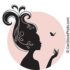 skönhet, kvinna, med, fjäril