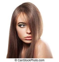 skönhet, kvinna, med, hälsosam, brun, hair., länge, glänsande, rak, hair., hairstyle.