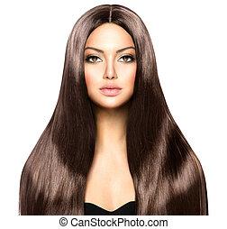skönhet, kvinna, med, länge, hälsosam, och, glänsande, slät, brunt hår