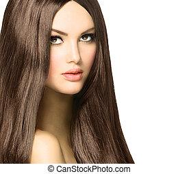 skönhet, kvinna, med, länge, hälsosam, och, glänsande, slät,...