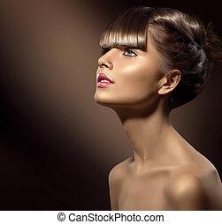 skönhet, kvinna, med, vacker, smink, och, hälsosam, slät, brunt hår