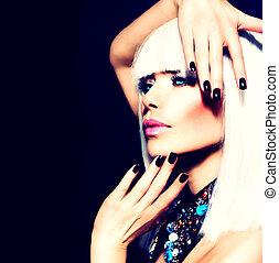 skönhet, kvinna, med, vitt hår, och, svart, fingernagel,...