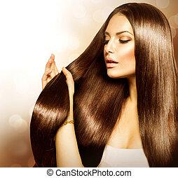 skönhet, kvinna, rörande, henne, länge, och, hälsosam, brunt hår