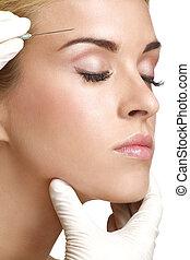 skönhet, kvinna, tillsluta, injicera, botox