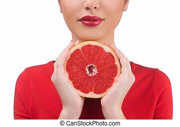skönhet, med, grapefruit., beskuren, avbild, av, vacker,...
