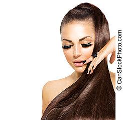 skönhet, mode, flicka, med, länge, hair., toppmodern, kaviar, svart, manikyr