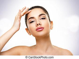 skönhet, portrait., ansikte, av, vacker, ung kvinna, med, perfekt flå