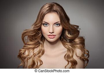 skönhet, portrait., lockig, långt hår
