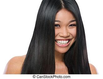 skönhet, rak, slät, isolerat, långt hår, flicka, asiat, stående, vit, le