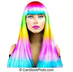skönhet, sätt modellera, flicka, med, färgrik, färga hår