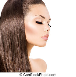 skönhet, sätt modellera, flicka, med, länge, hälsosam, brunt hår