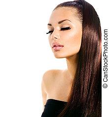 skönhet, sätt modellera, flicka, med, länge, hälsosam, hår