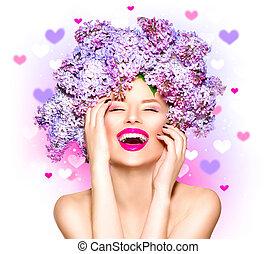 skönhet, sätt modellera, flicka, med, lila, blomningen, frisyr