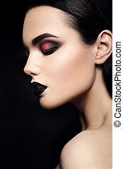 skönhet, sätt modellera, flicka, med, svart, göra, uppe., mörk, lipstick.