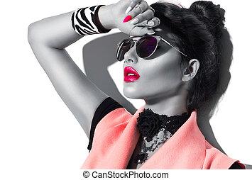 skönhet, sätt modellera, flicka, svartvitt, stående, tröttsam, stilig, solglasögon