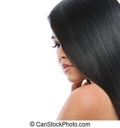 skönhet, stående, av, asiat, brunett, kvinna, hälsosam, länge, rakt hår, isolerat, vita