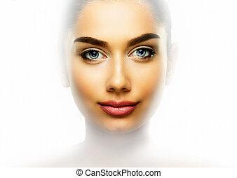skönhet, stående, av, kvinna, med, vacker, skinn, ansikte, över, ren, vit