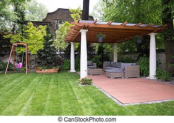 skönhet, trädgård, med, nymodig, gazebo