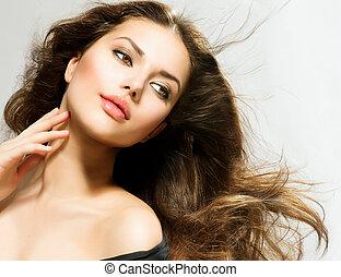 skönhet, womanstående, med, länge, hair., vacker, brunett,...