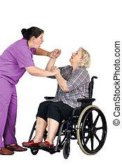 sköta, attackera, senior woman, in, rullstol