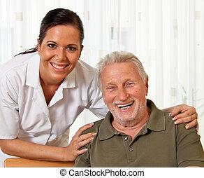 sköta, in, äldre bry, för, den, äldre, in, vård hem