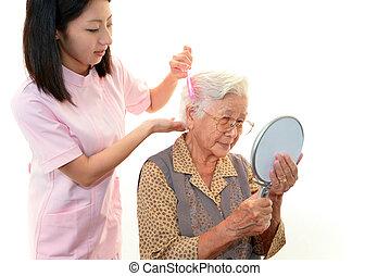sköta, kvinna, äldre