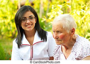 sköta, kvinna, /, äldre, läkare