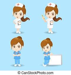 sköta, kvinna läkare