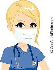 sköta, maskera, medicinsk, kvinnlig