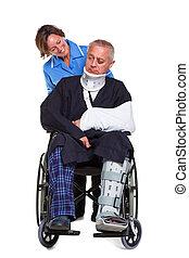 sköta, och, såradt, man, in, rullstol, isolerat