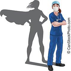 sköta, superhero, toppen, skugga, hjälte, läkare, kvinna