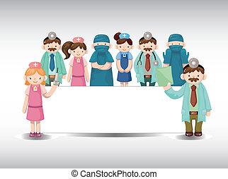 sköta, tecknad film, kort, läkare