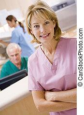 sköterskan, in, den, mottagande område, av, a, sjukhus