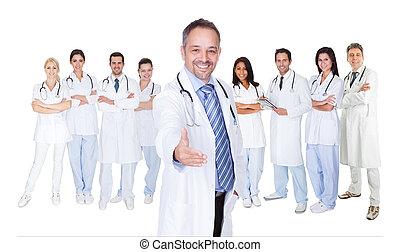 sköterskan, stor grupp, doktorn