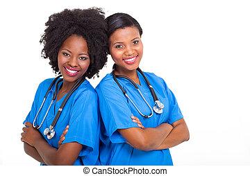 sköterskan, ung, afrikansk