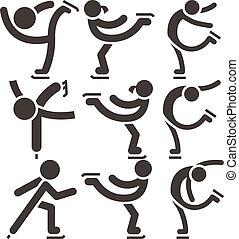 skøjteløb, sæt, figur, iconerne