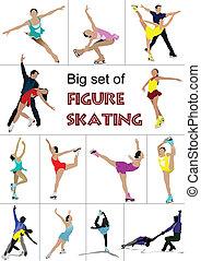skøjteløb, silhuetter, farvet, figur