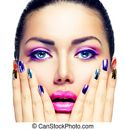 skønhed, farverig, purpur, negle, makeup., klar, war paint