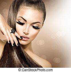 skønhed, mode modeller, pige, hos, længe, sunde, brunt hår