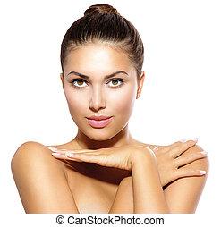 skønhed, model, pige, kigge hos, kamera., hud omsorg, begreb