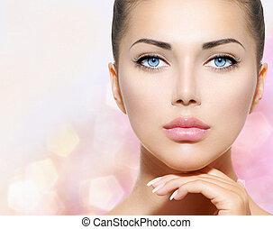 skønhed, portrait., smukke, kurbad, kvinde, røre, hende,...