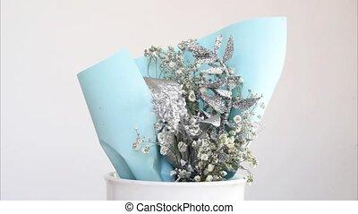 skład, ozdoby, bukiet, handmade, spray., silver., kwiaty,...