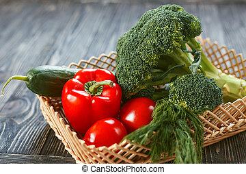 skład, surowy, vegetables., rozmaitość, dieta, wegetarianin