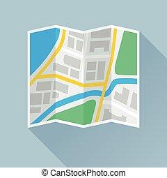 składany, płaski, papier, mapa, ikona