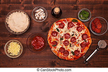 składniki, górny, -, stół, pizza, prospekt